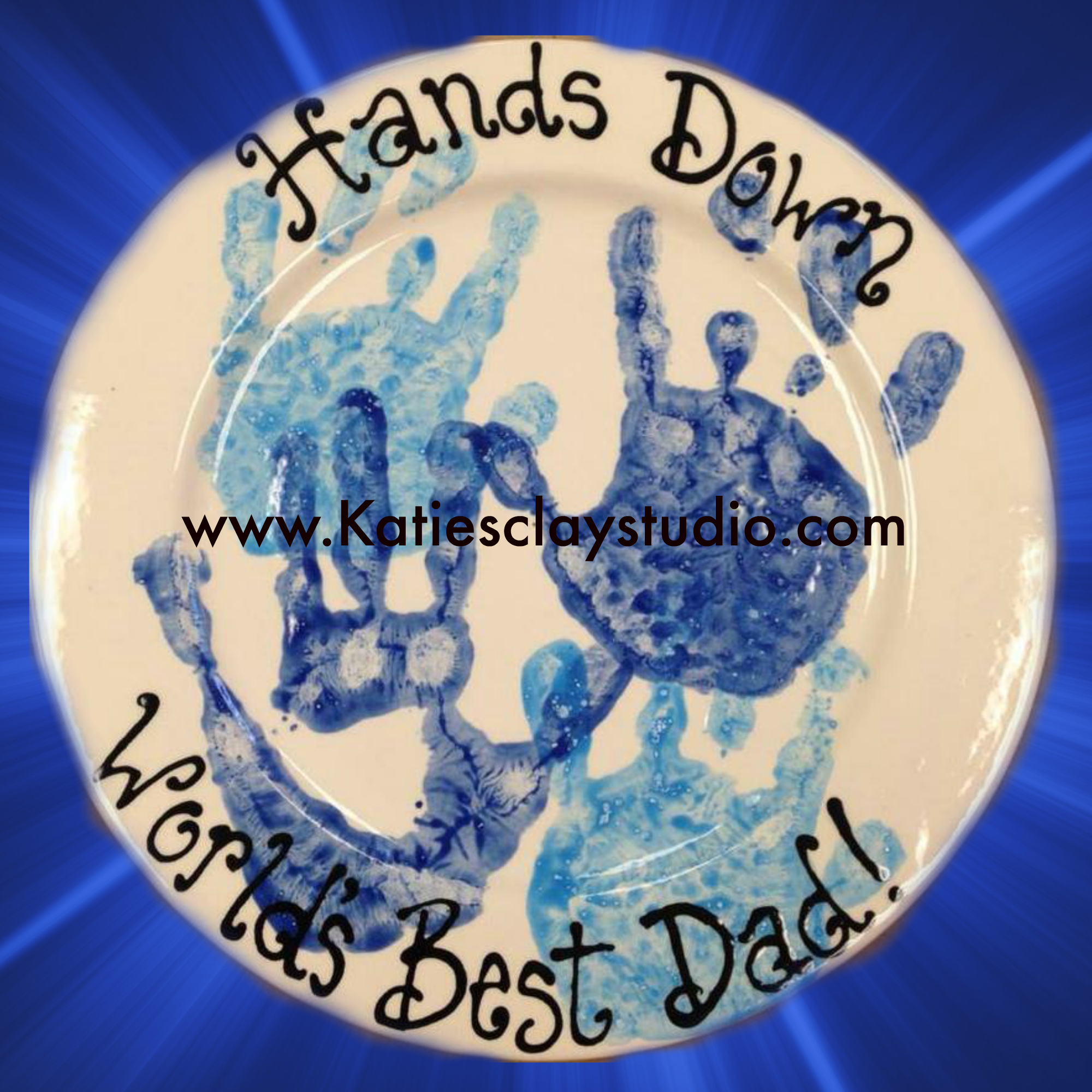 Father's Day hand print plate.