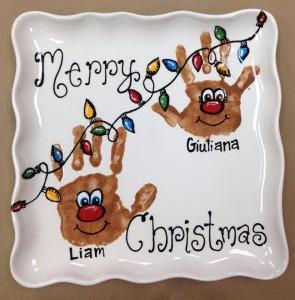 Christmas Reindeer hand print plate
