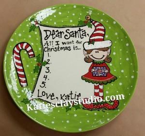 santa wish list plate
